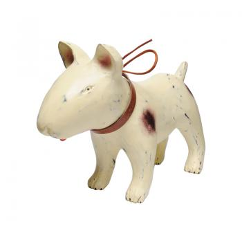 Wood Carving Bull Terrier / MARK (Puppy - Antique White)