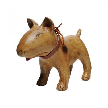 Wood Carving Bull Terrier / MARK (Puppy - Antique Brown)