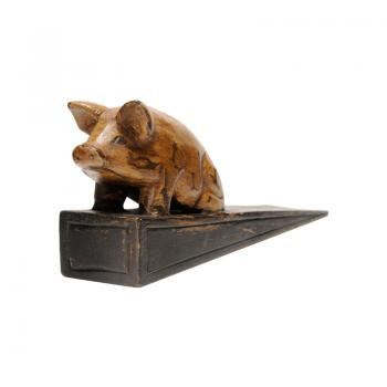 Wood Carving Door Stopper (Pig)