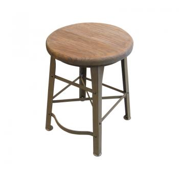 Iron & Teak Stool (Gray:Antique Finish)
