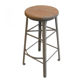 Iron & Teak Bar Stool (Gray:Antique Finish)