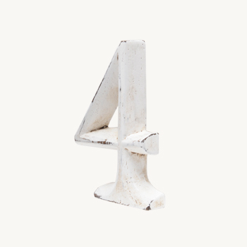 Wood Carving Letter 「4」