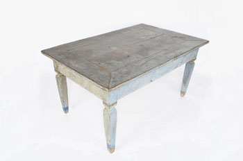 Antique Dining Table Blue Paint